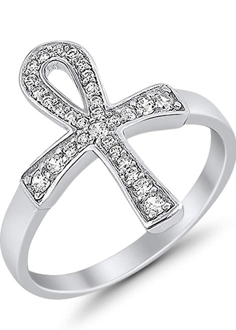 Ankh Ring Cubic Zirconia 925 Sterling Silver