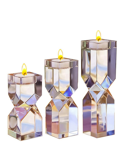 Elegant Solid Crystal Tealight Holders Set Of 3