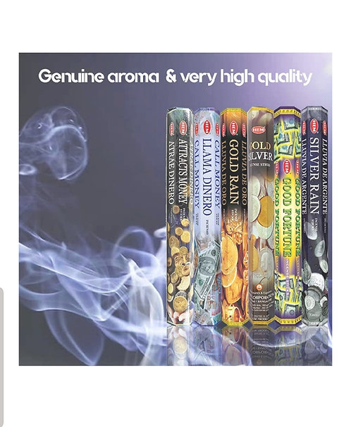 Assorted Money Drawing Incense Six 20 Stick Tubes, 120 Sticks Total