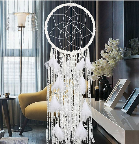 Extra Large Dream Catcher Handmade White Feathers
