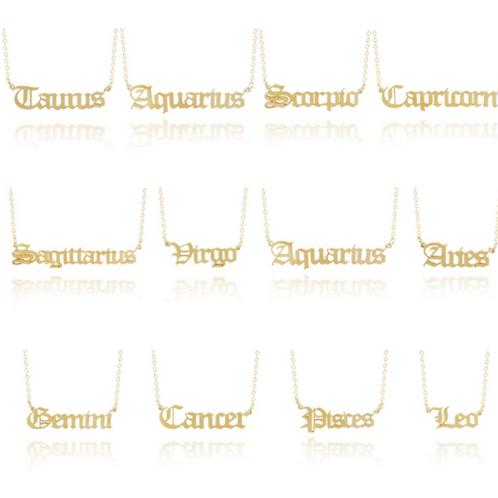 SALE! Gold Zodiac Necklace.. Leo, Aquarius, Cancer, Virgo etc.