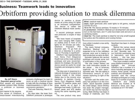 Article:  Orbitform Medical Providing Solution to Mask Dilemma