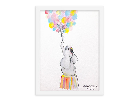 Baby Circus Elephant Framed Poster Print