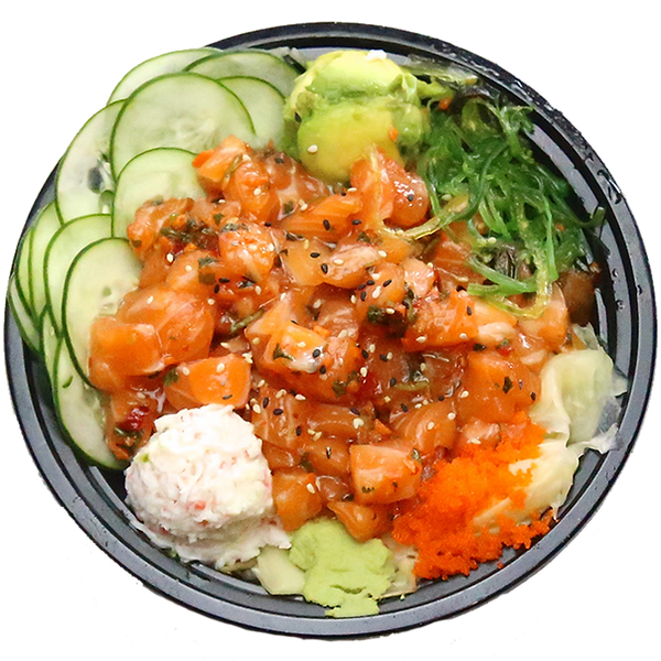 Poke bowl with salmon cucumber seaweed and avocado