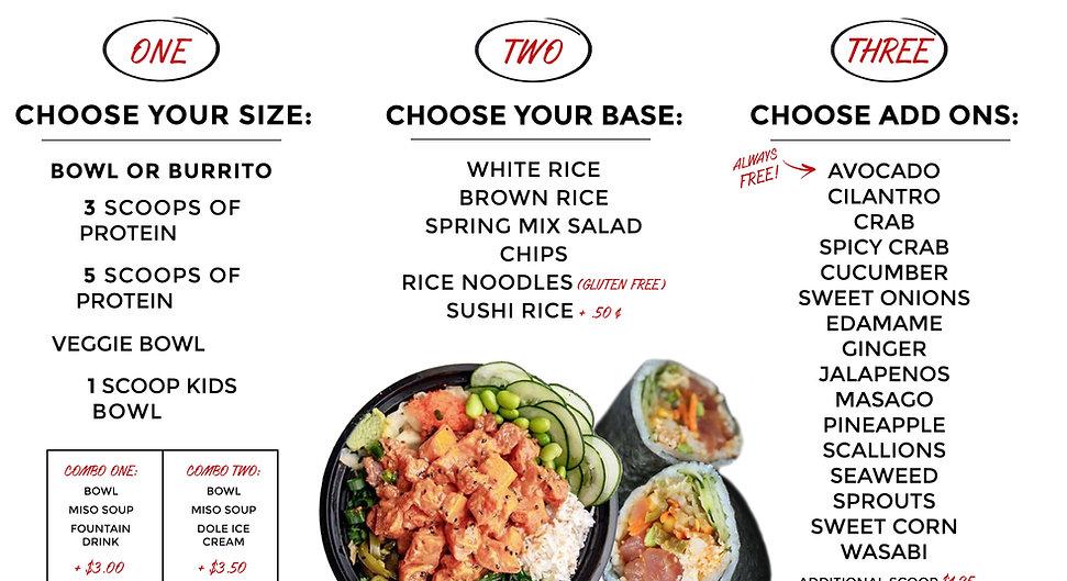 Oke Poke Menu - How to order 1, 2, 3