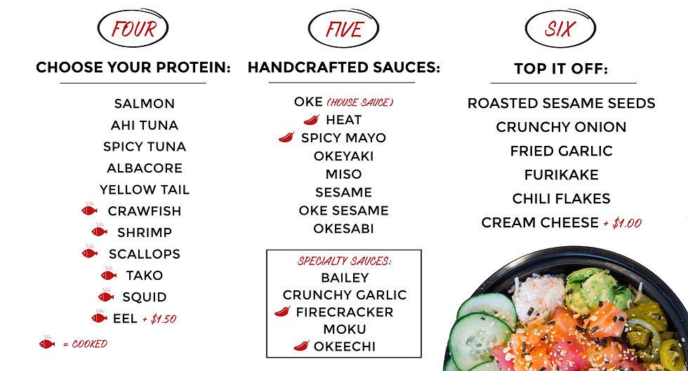 Oke Poke - Menu how to order 4, 5, 6