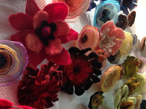 Felted Flower Pin  workshop
