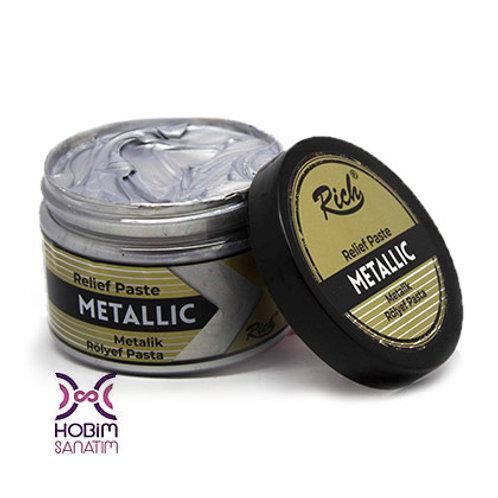 Metalik Rölyef Pasta - Gümüş