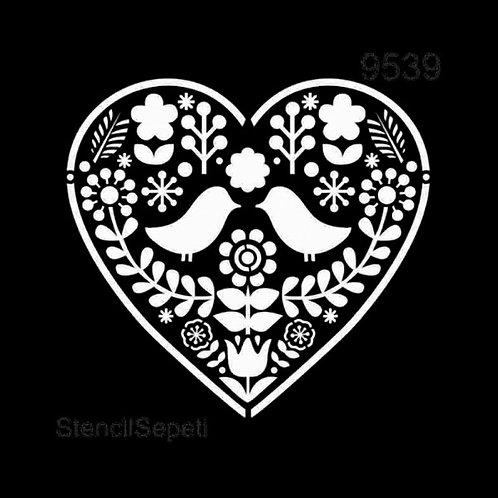 Kuşlar ve Çiçekler - Stencil 9539