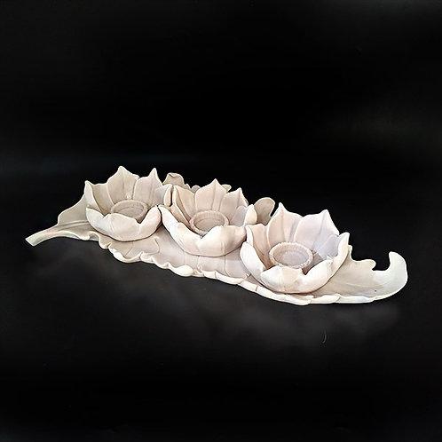 Lotus Çiçek Mumluk - Çiçekli Yaprak Tabak