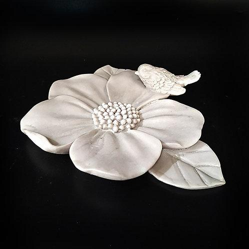 Kuşlu Çiçek Duvar Süsü - Polyester Obje