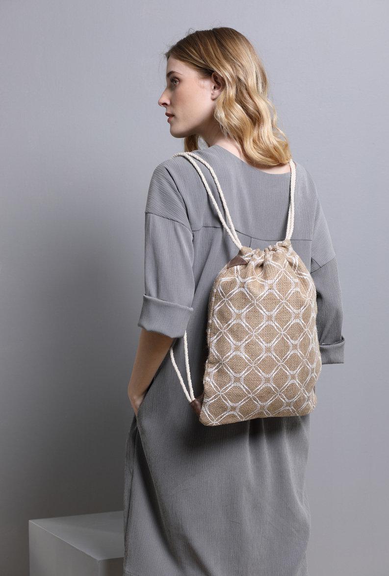 Drawstring Backpack Women's Printed Bag Jute burlap Boho bag Eco friendly backpack