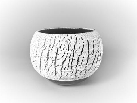 White crackle H 10cm D 12cm