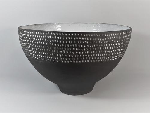 Black bowl & white dots H 24cm D 39cm