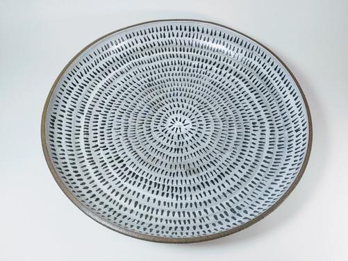 Plate (black brush strokes) D 35cm