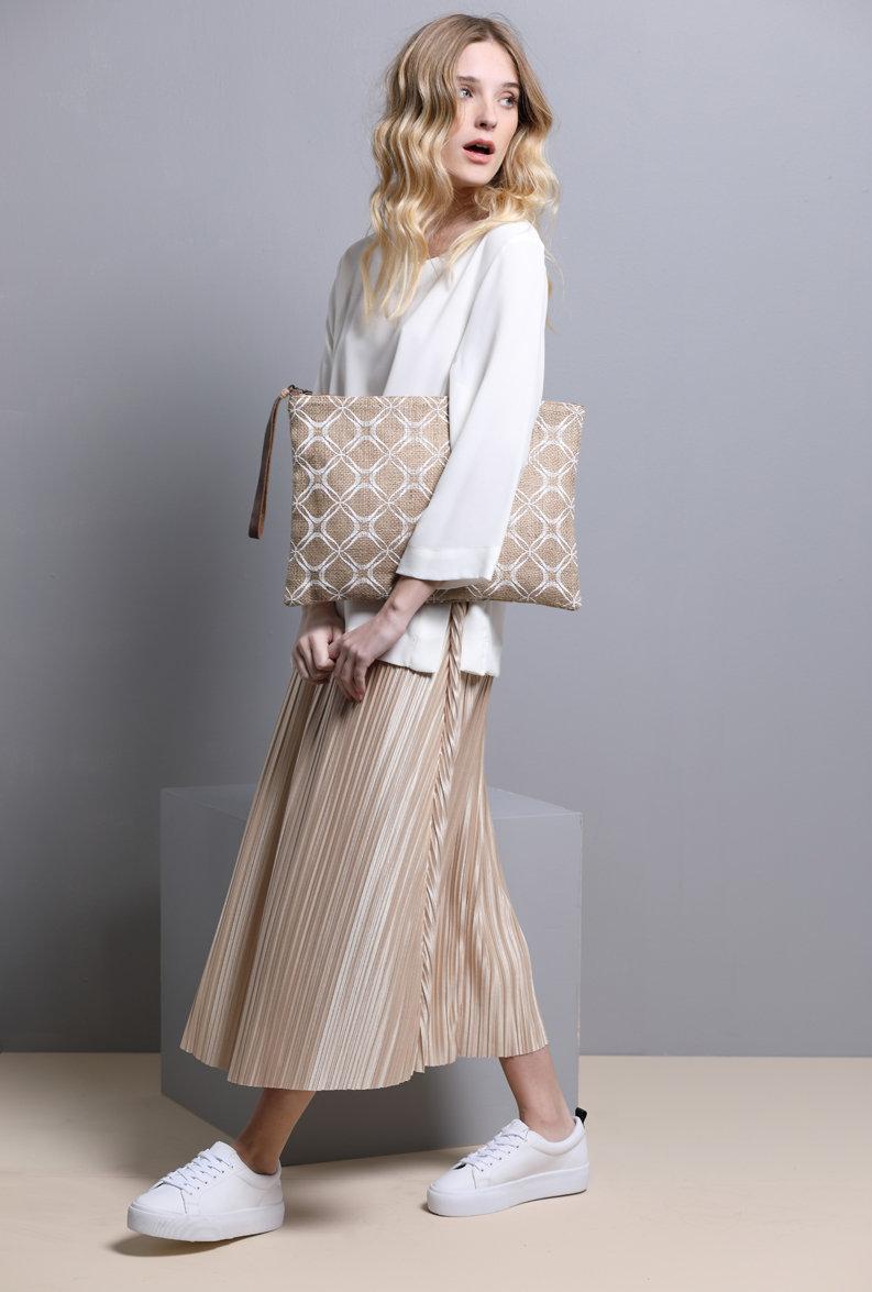 Women's Boho Clutch Bag Jute Big Purse Eco Friendly Clutch with handmade screen printing