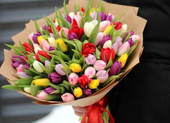 Букет тюльпанов микс от 35 шт (цвет на выбор)
