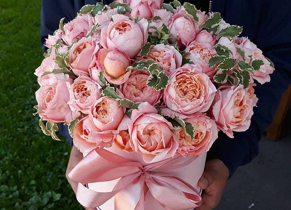Кустовые пионовидные розы Джульетта в шляпной коробке