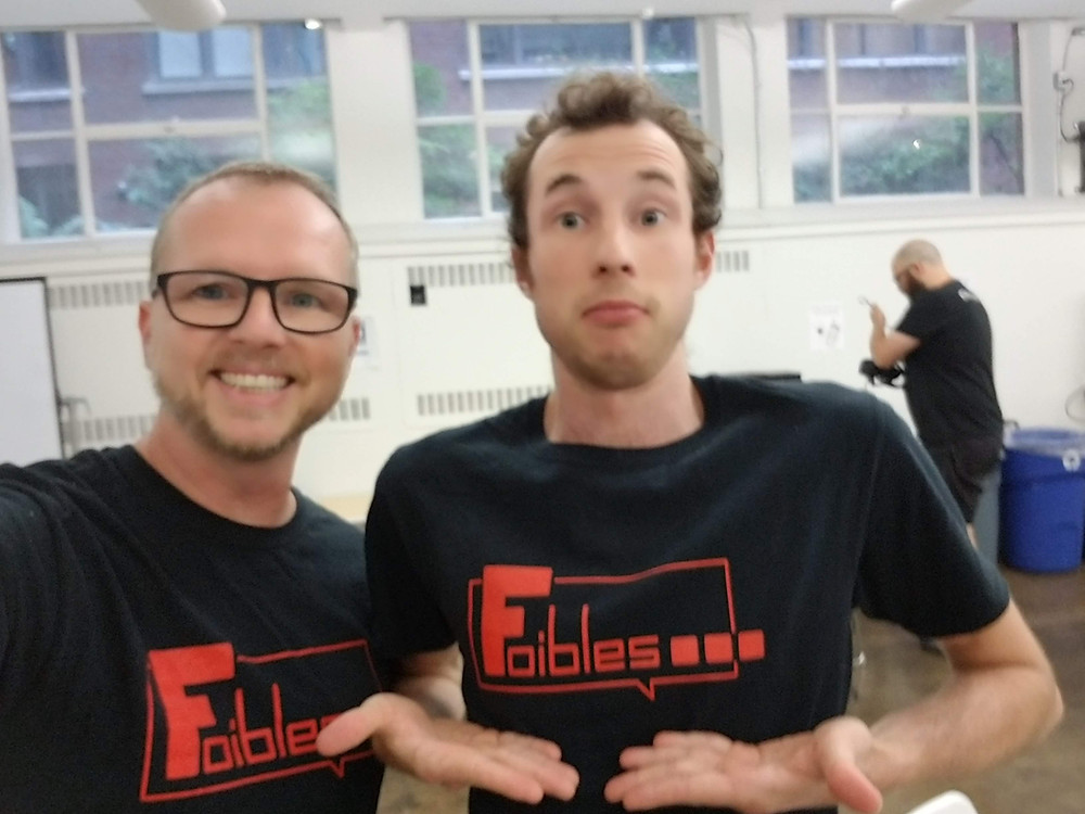 Jason and JP wearing Foibles game t-shirts at the Gamplay Space testing event.