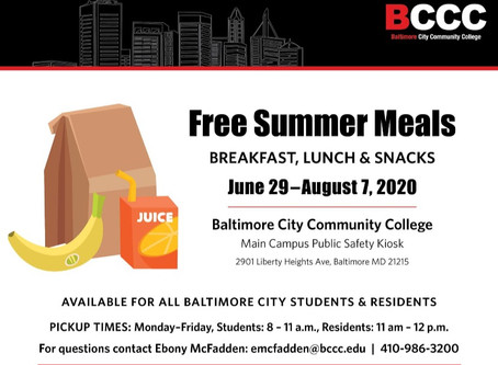 BCCC Main Campus will be distributing food for Baltimore students and resident until Aug 7.