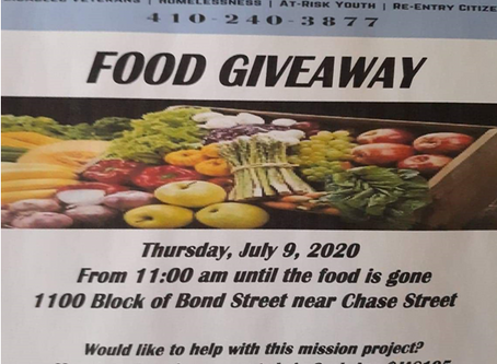 My Father's House will distributing food Thurs, July 9 from 11am until supply lasts at 1100 Chase St