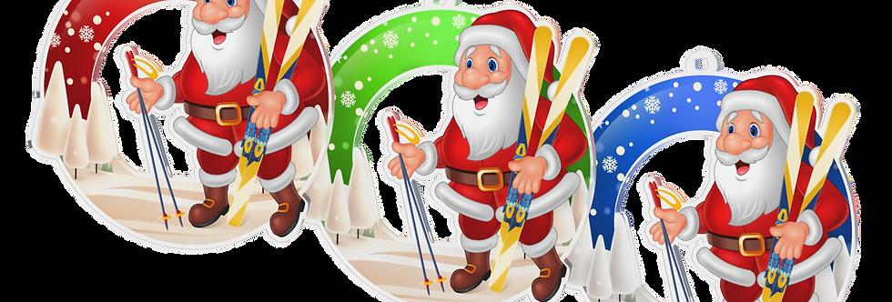 Santa Claus - kulatý - LYŽAŘ