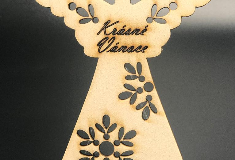 Magnet - andílek - dřevěný - s vlastním textem