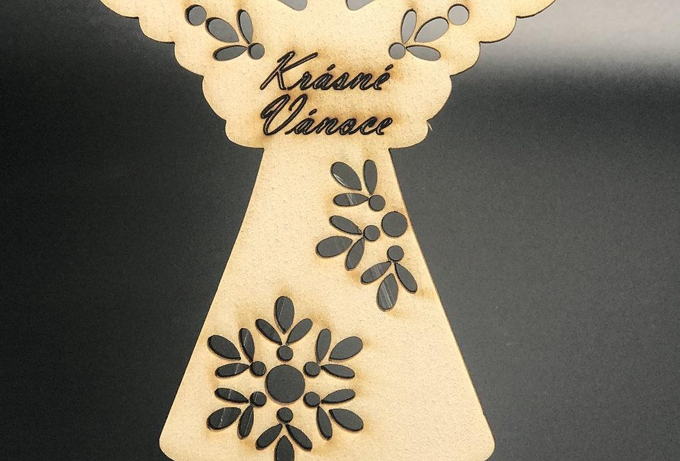 Andílek s vločkami - dřevěný - s vlastním textem