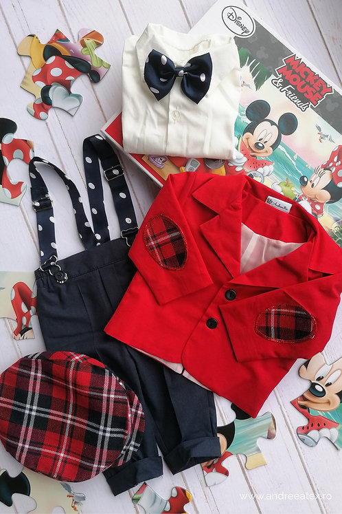 Costum băieți - roșu (3luni/6 luni)