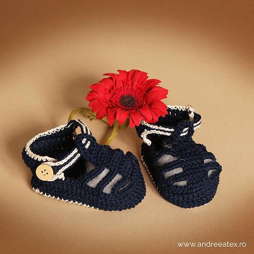 Sandale croșetate Băieței - albastru