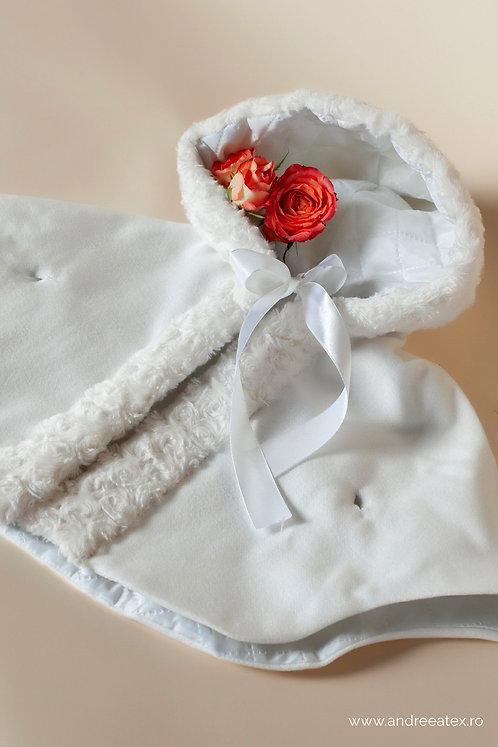 Capă din stofă cu blăniță (3L-9L) -ivoire