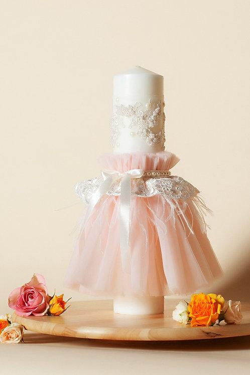 Lumânare trusou botez A1 - roz-barbie
