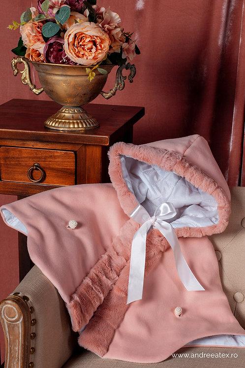 Capă din stofă cu blăniță (3L-9L) - Rose