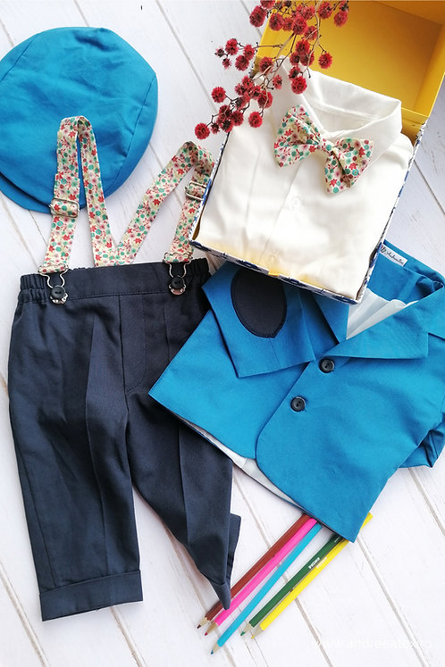Costum băieți - albastru (3luni/6 luni)