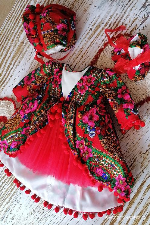 Compleu Eniko - mânecă lungă - tull roșu (set botez și turtă)