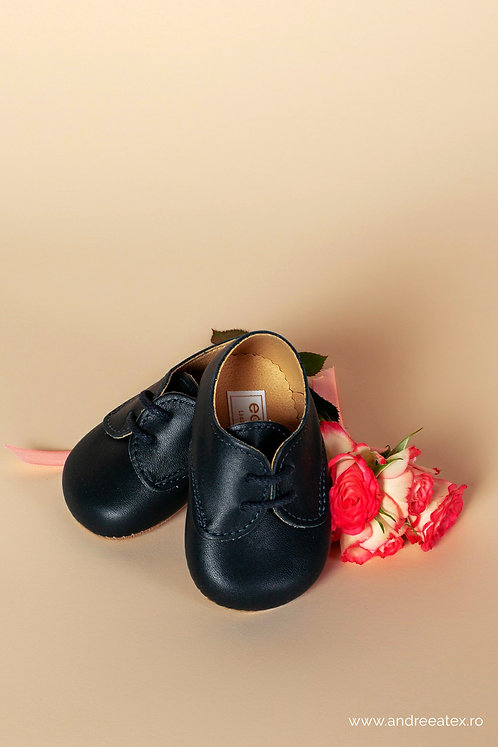 Pantofiori piele naturală Thomas /// bleumarin