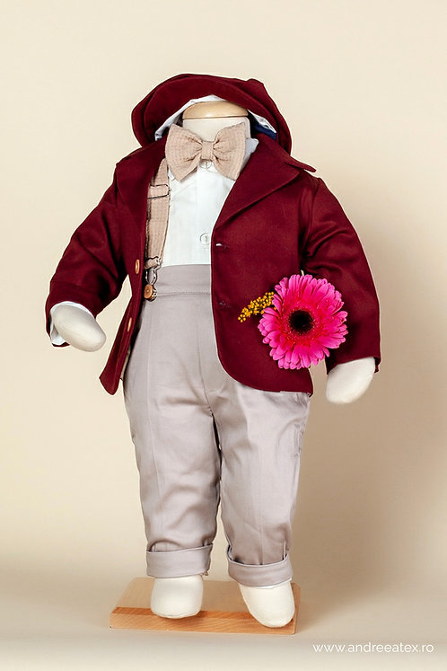 Costum băieți - burgundy (3luni/6 luni)
