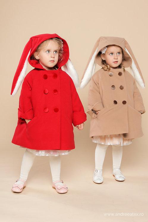 Paltonaș Iepuraș - matlasat cu vată (3-6 ani) - roșu