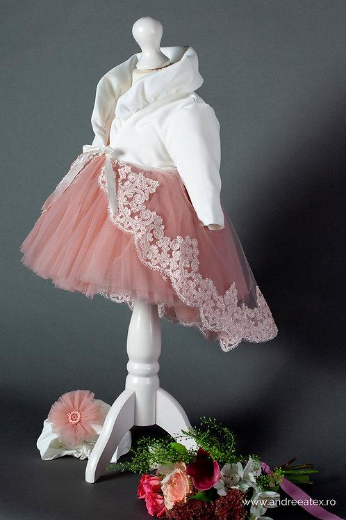 Compleu Margueritte - roz - mânecă lungă(1an/4ani)