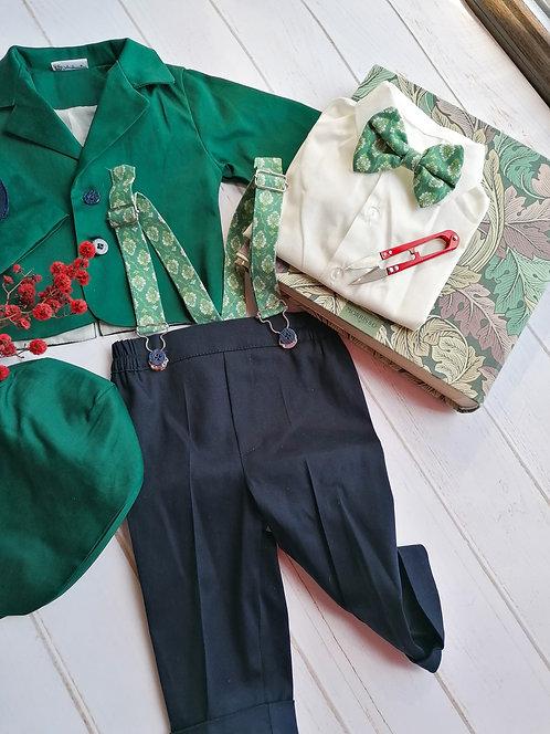 Costum băieți - verde englezesc (3luni/6 luni)