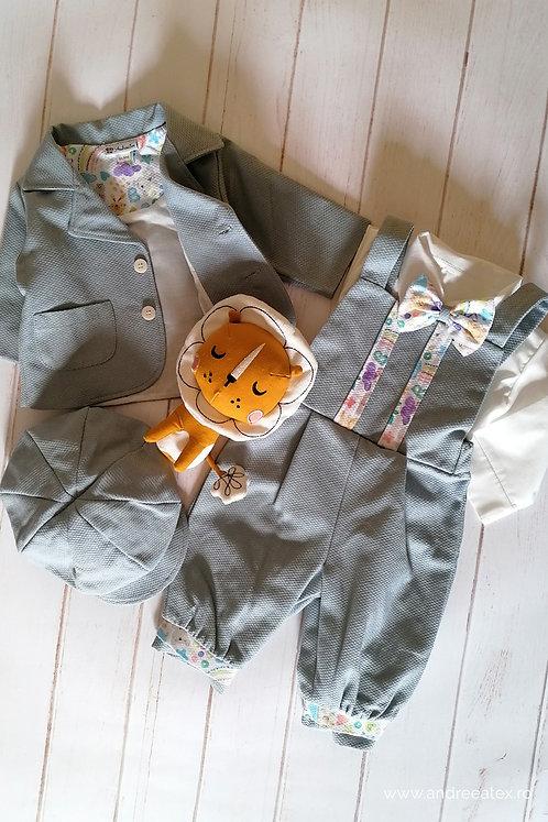 Costum Iancu - gri-bleu (3 luni/6 luni/9 luni)