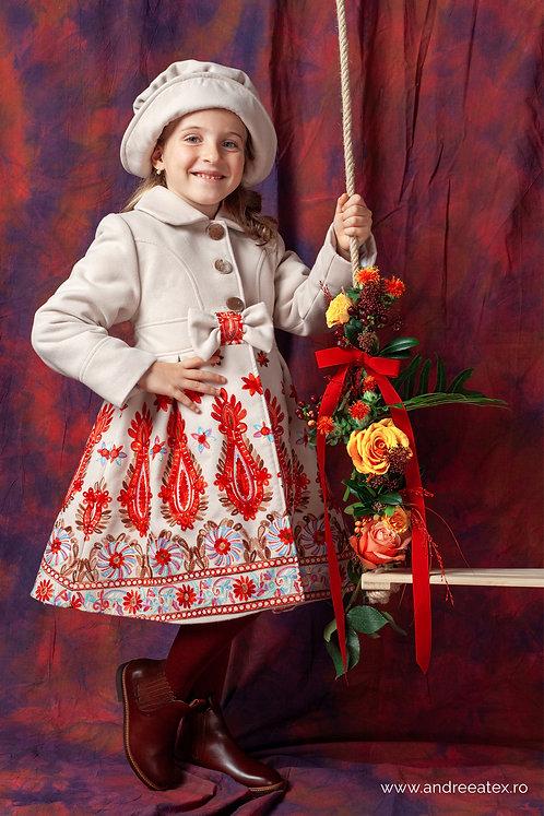 Paltonaș Andreea (4-9 ani) -broderie beige
