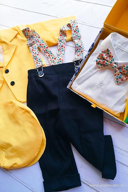 Costum băieți - galben (3luni/6 luni)