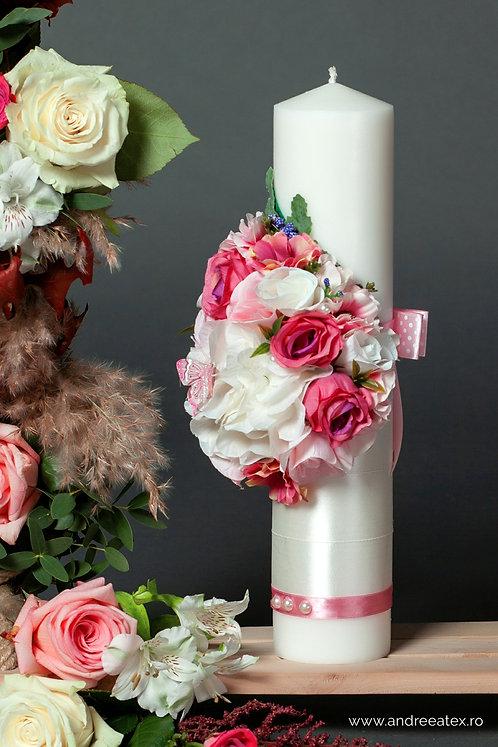 Lumânare trusou botez Flower - roz