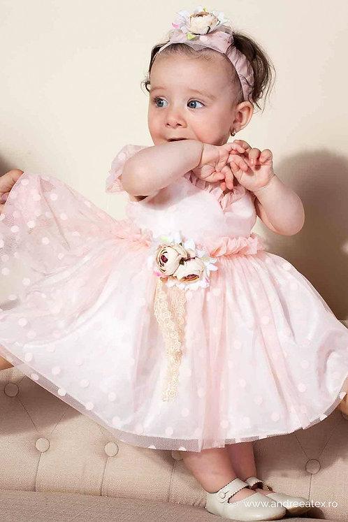 Rochiță Ariel - roz (set botez și turtă)