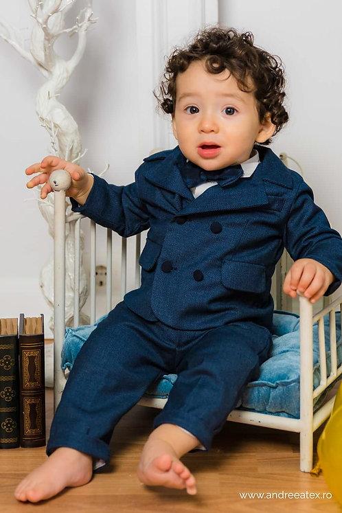 Costum Felix - ecosez albastru (3luni/6 luni)