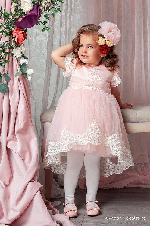 Rochița Caroline roz - mânecă scurtă (3luni-4)