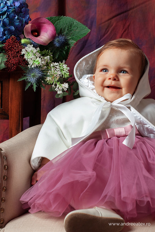 Compleu Lisette (set botez rochiță și capă / 3L-9L) - mov