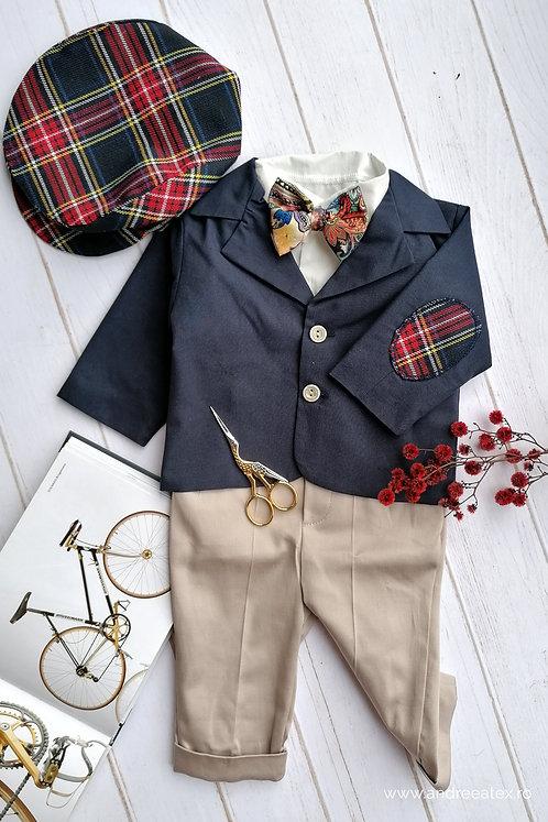 Costum băieți - sacou bleumarin/ pantalon bej (3luni/6 luni)