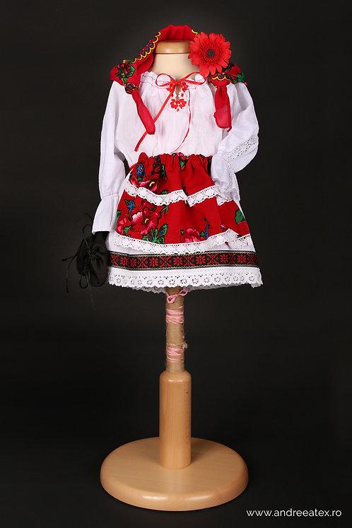 Costum național fete cu vestă (set botez)